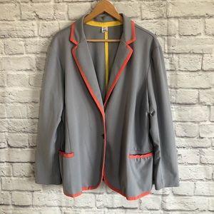 3/$30🦋 Jockey Gray Plus Size Blazer Orange Trim